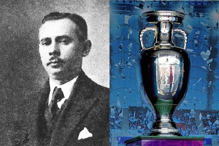 Fransman Henri Delaunay met beker - EK voetbal