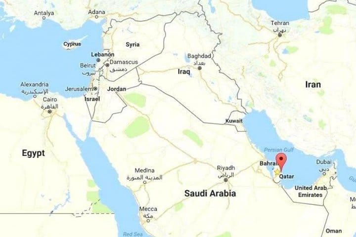 Ligging Qatar in het Midden Oosten